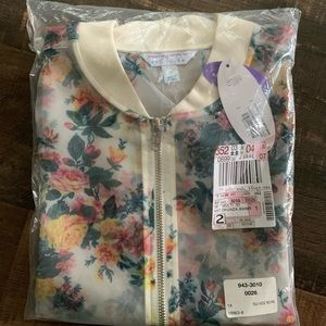 Ashley Nell Tipton Sheer Organza Floral Bomber